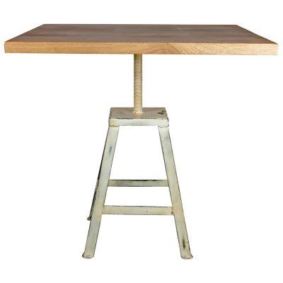 MADISON WHITE Table de style industriel, avec structure en acier, finition peinture, plateau en bois. Fabrication sur mesure, finitions personnalisables. Plateau carré ou rond.