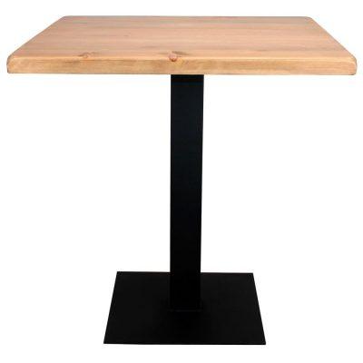 FERRO BLACK Table de style industriel contract, avec pied en acier, finition noir. Plateau en bois. Disponible en bois ancien ou bois effet vieilli.