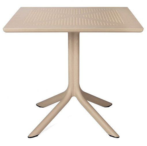 CLIP Table avec pied central, plateau DurelTOP 80x80cm, en polypropylène fiberglass traitement anti UV. Démontable. Disponible en blanc, anthracite, marron et tortora. Dimensions: 80x80x75 cm