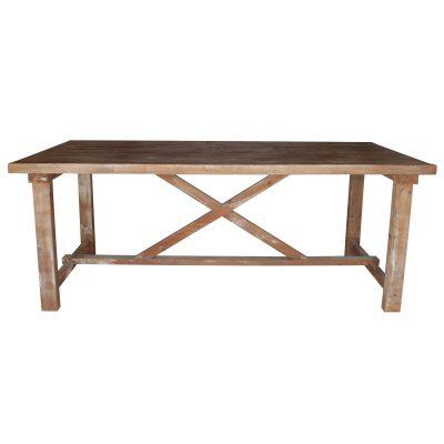 MARTINA Table de style rustique/vintage, fabriquée intégralement en bois, avec patine blanche. Fabrication sur mesure en Espagne.