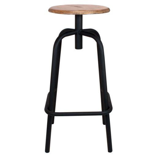 ANDERSON BLACK Tabouret haut de style industriel, structure en tubes d'acier, finition noir, assise en bois.
