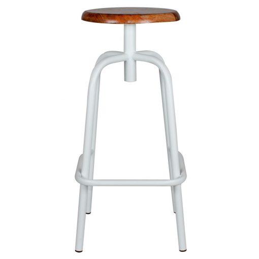 ANDERSON WHITE Tabouret haut de style industriel, structure en tubes d'acier, finition blanc, assise en bois.