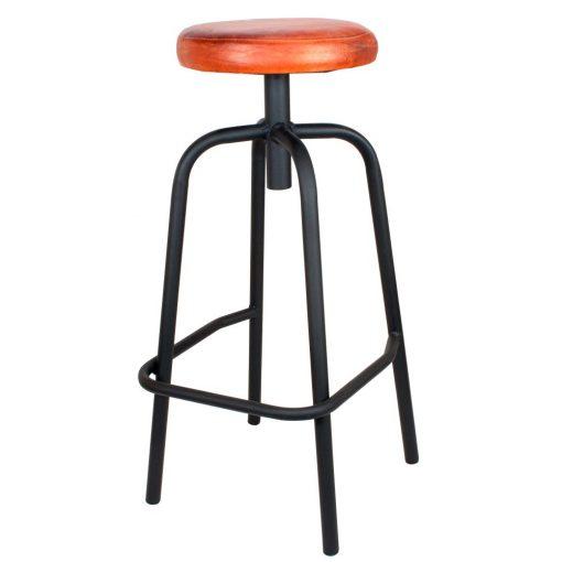 DONOVAN BLACK Tabouret haut de style industriel, structure en tubes d'acier, finition noir texturisé, assise en cuir.