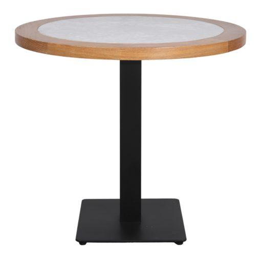 DAVOX Table de style vintage, pieds en acier, plateau en marbre blanc, contour bois de chataignier. Fabrication sur mesure.3
