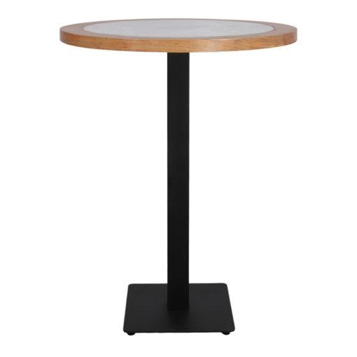 DAVOX Table de style vintage, pieds en acier, plateau en marbre blanc, contour bois de chataignier. Fabrication sur mesure.2