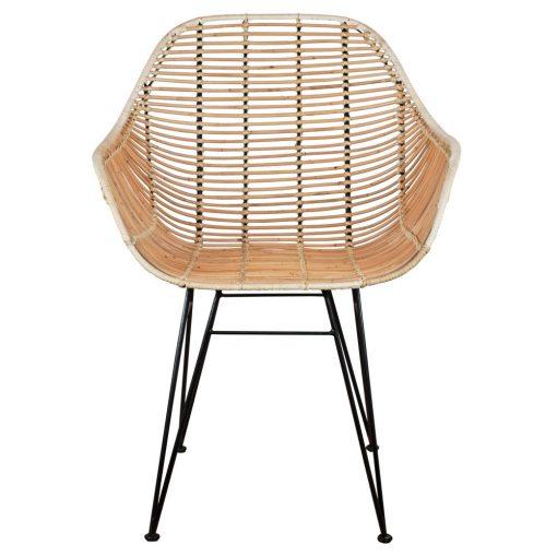 BUCKET NATURAL Chaise avec structure en acier, assise en rotin. Non adaptée pour l'extérieur.