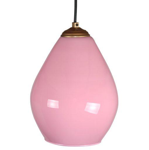 DROPS PINK Lampe de plafond en verre d'opaline, finition laiton, tulipe rose. Cable de 100 cm. Dimensions: Ø20x25cm