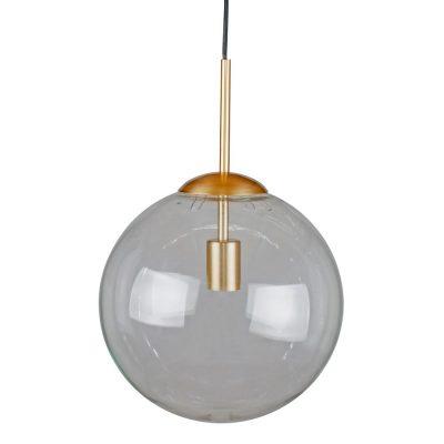 VINYL 20 Lampe de plafond de style vintage/retro, structure en métal, finition laiton. Abat-jour sphèrique en verre fumé. Culot E27. Max 40W. Ampoule non incluse. Dimensions: Ø20x39 cm.
