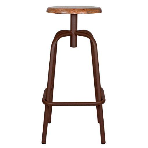 ANDERSON OXIDO Tabouret haut de style industriel, structure en tubes d'acier, finition cuivré, assise en bois.