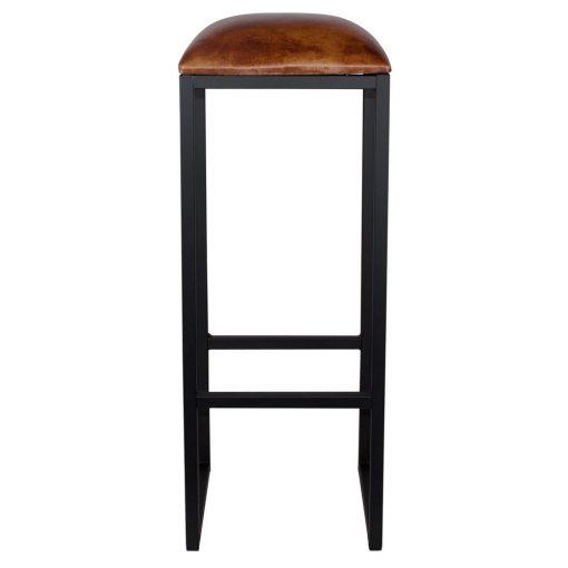 COUNCIL BLACK Tabouret haut de style vintage, structure en fer avec repose-pieds, assise en cuir de chèvre. Personnalisable avec supplément.