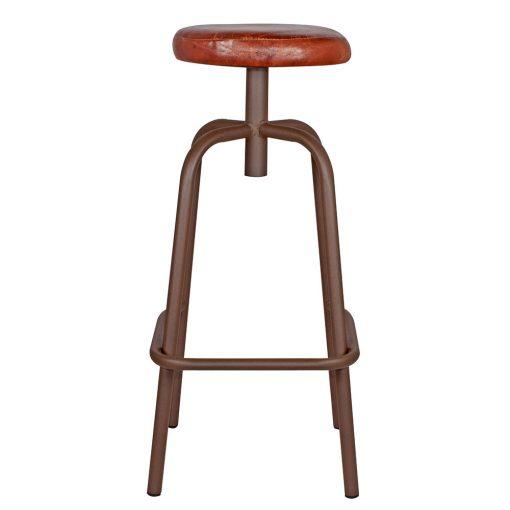 DONOVAN OXIDO Tabouret haut de style industriel, structure en tubes d'acier, finition cuivré, assise en cuir.