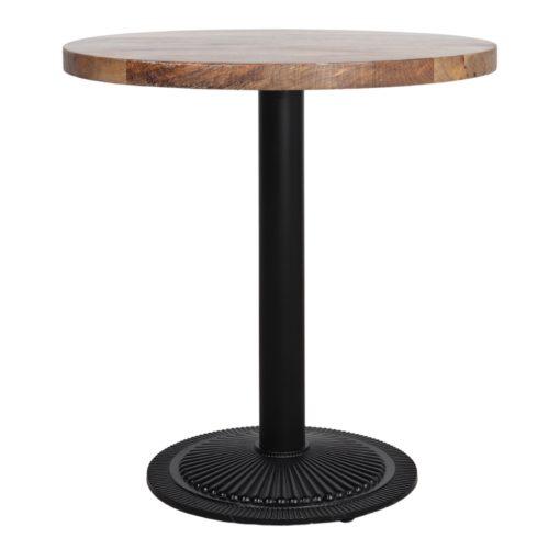 MOSORU Table avec pied central fabriqué en métal et plateau en bois. Idéal pour l'hôtellerie ou un projet contract.