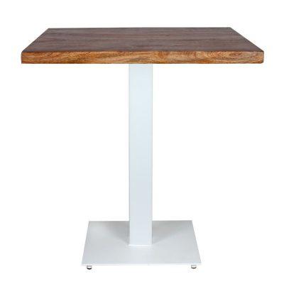 FERRO WHITE Table de style industriel contract, avec pied en acier, finition blanc. Plateau en bois. Disponible en bois ancien ou bois effet vieilli.