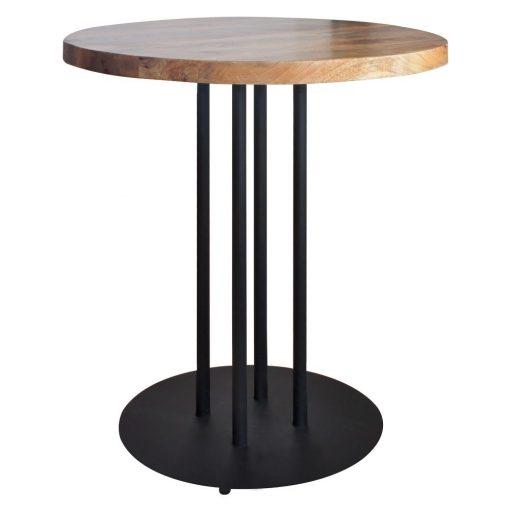 GINFIZZ BLACK Table de style industriel, structure en acier, finition peinture noire, plateau en bois. Fabrication sur mesure.