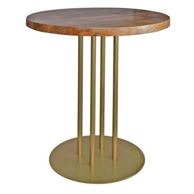 GINFIZZ GOLD Table de style industriel, structure en acier, finition peinture dorée, plateau en bois. Fabrication sur mesure.