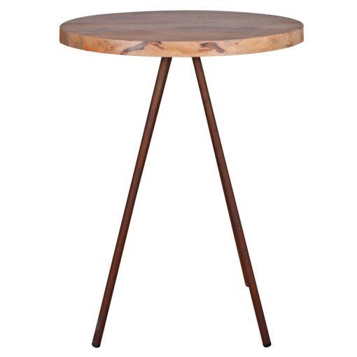 BURLINGTON Table de style industriel avec structure en acier, finition cuivré, plateau en bois.