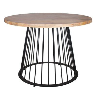 HARPER Table de style industriel, structure en tube d'acier, finition peinture en poudre noire, plateau en bois. Fabrication sur mesure en Espagne.