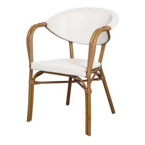 NIZA Chaise imitation bambou, fabriquée en tubes d'aluminium. Assise et dossier en textilène beige.3