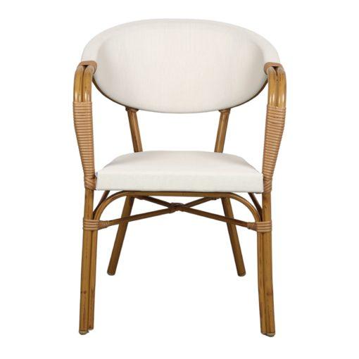 NIZA Chaise imitation bambou, fabriquée en tubes d'aluminium. Assise et dossier en textilène beige.2