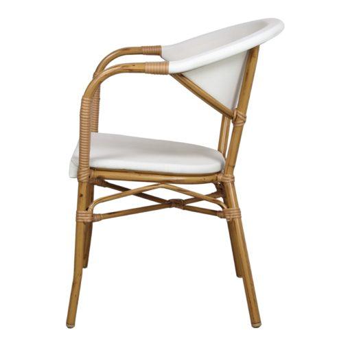 NIZA Chaise imitation bambou, fabriquée en tubes d'aluminium. Assise et dossier en textilène beige.1