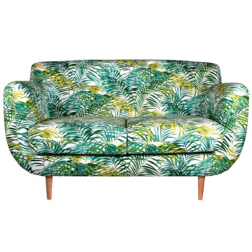 CALIFORNIA PALM 2PL Canapé de style scandinave, retro. Fabrication textile.