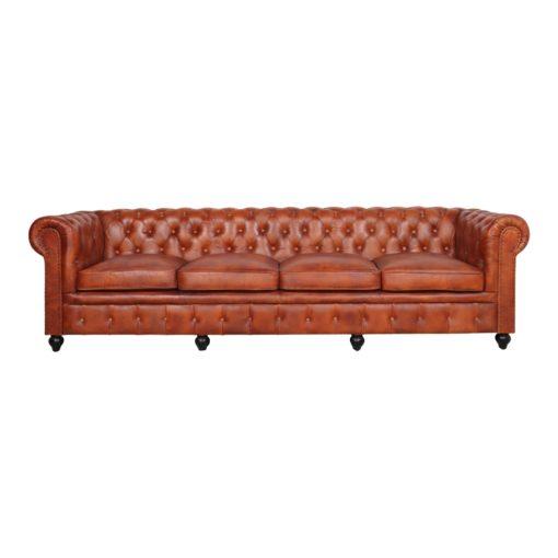 GARBO 4PL Canapé de 4 places de type Chester, armature en bois, rembourré en plumes de haute densité, revêtement cuir, finition capitonné.1