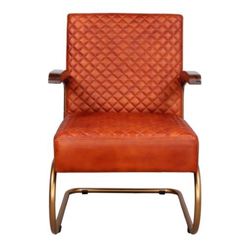 GALAPAGOS Fauteuil de style vintage/mid-century avec structure en tubes d'acier, assise et dossier en cuir.