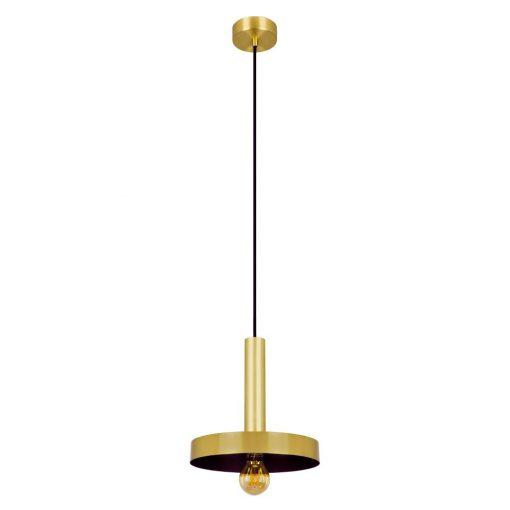 Lampe de plafond de style rétro, fabriquée en métal, finition doré satiné. Intérieur noir. Culot E27. Max 60W. Dimensions: Ø25x26x176 cm