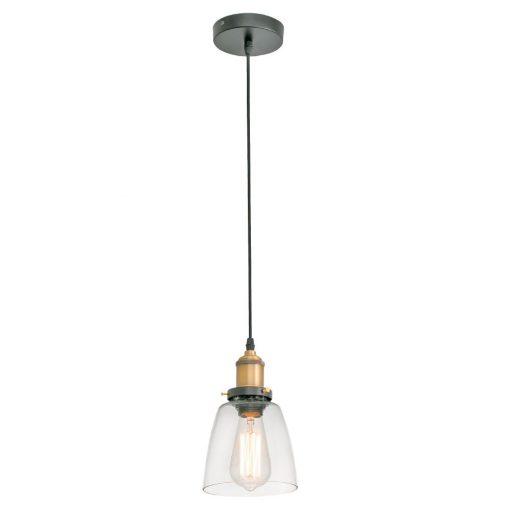 LIZ Lampe de plafond de style vintage fabriquée en métal et verre.Culot E27. Max 60W. Dimensions: Ø14x14x144 cm