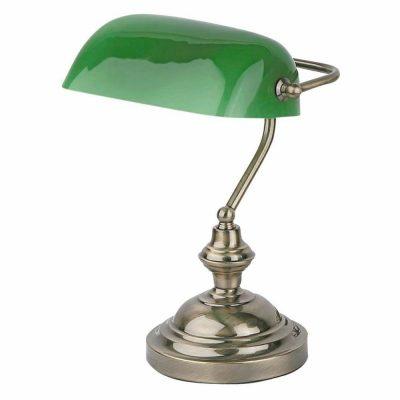 BANKER Lampe de table de style classique, en acier et verre. Culot E27. ax 60W. Dimensions: 26x20,5x37,5 cm.