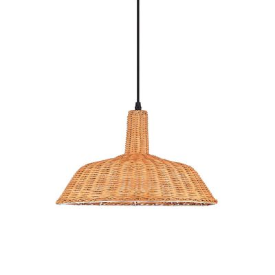 ALMEZ Lampe de plafond de style scandinave en rotin naturel. Culot E27. Max 60W. Dimensions: Ø47x27 cm. Cable de 130 cm.