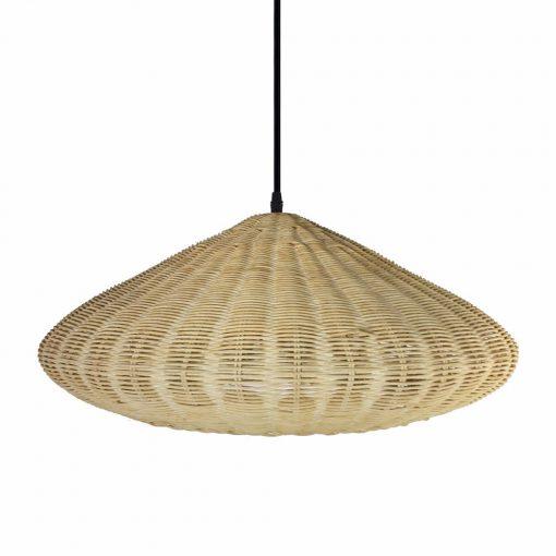 AMAPOLA Lampe de plafond de style scandinave, rotin naturel finition patine beige. Culot E27. Max 60W. Dimensions: Ø58x23 cm. Cable de 130 cm.
