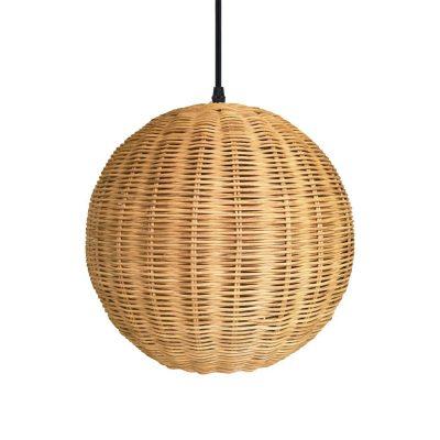 DALIA Lampe de plafond de style scandinave, en rotin naturel. Culot E27. Max 60W. Dimensions: Ø28x28 cm. Cable 130 cm.