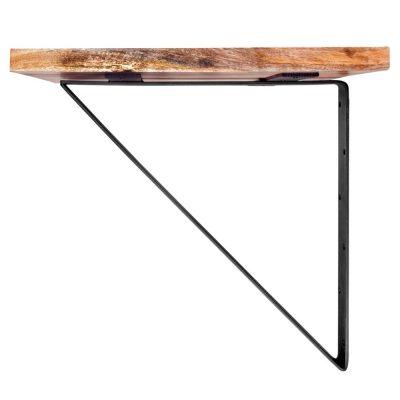 ARUBA Table à fixer au mur de style industriel, structure en acier et plateau carré en bois de manguier.