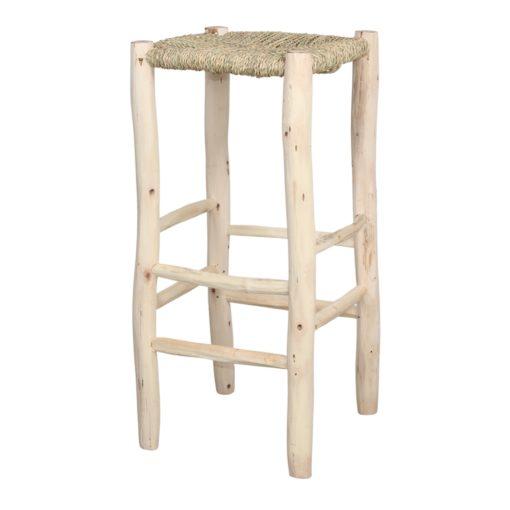 TULANE Tabouret haut de style vintage shabby chic, structure en bois de laurier, assise en feuilles de parlmier naturelles.1