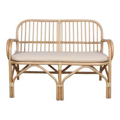 ALLEGRO Banc de style scandinave tropical fabriqué en rotin naturel avec coussin tapissé en toile. Trouvez-le chez Mister Wils. Tables, chaises, canapés, tabourets, étagères, plantes artificielles…