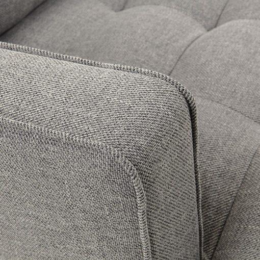 VINNY Canapé 3 places de style scandinave/contemporain, revêtement en toile. Coussins d'assise et dossiers déhoussables. Structure en métal noir.