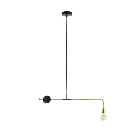 WHOA Lampe de plafond en laiton mat. Disque de marbre noir. Culot E27. Dimensions: 80x17x10 cm