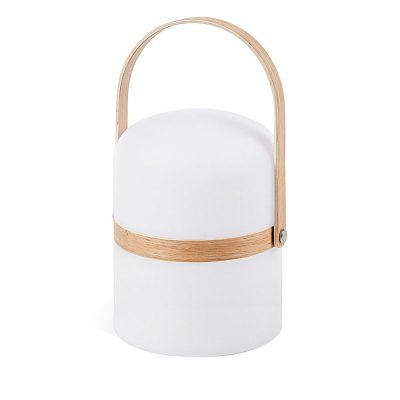 JANVIR Lampe de style scandinave à LED avec 3 intensités de lumière. Batterie rechargeable par USB, transformateur et ampoule inclus.Dimensions: 14,5x26,5x14,5 cm