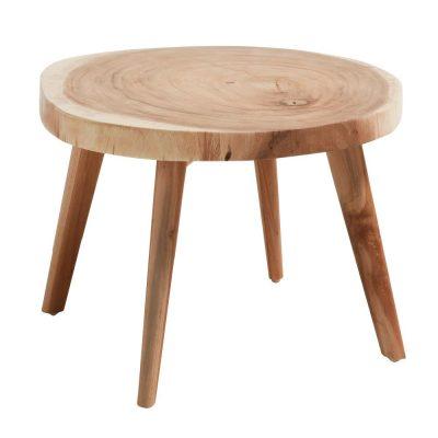 CRESWELL Table auxiliaire de style vintage en bois de munggur massif. Dimensions: Ø65x41 cm