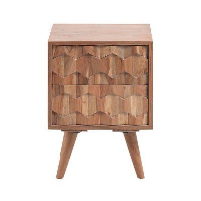 IMAGE Table de nuit en bois d'acacia taillé. Dimensions: 40x35x55 cm