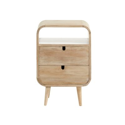 GERALDINA Table de style scandinave, structure en bois de manguier naturel, finition laqué blanc. Dimensions: 40x30x60 cm