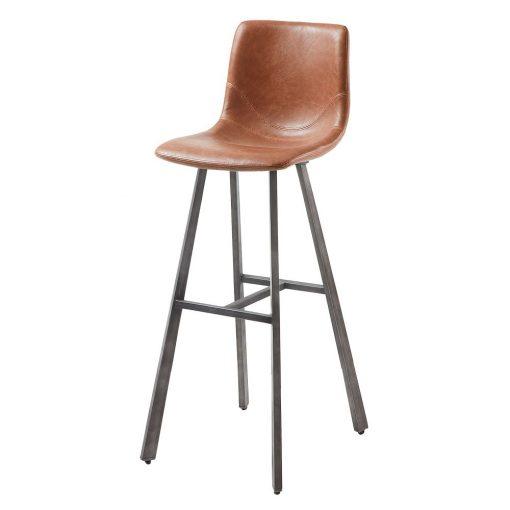 TRAC Tabouret haut avec structure en acier, finition noir, assise en cuir synthétique.