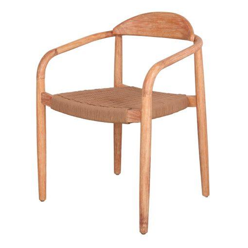 GLYNIS Chaise en bois avec accoudoirs. Structure en eucalyptus massif. Traitement Nano Oil PNZ pour une durée de vie plus longue.5