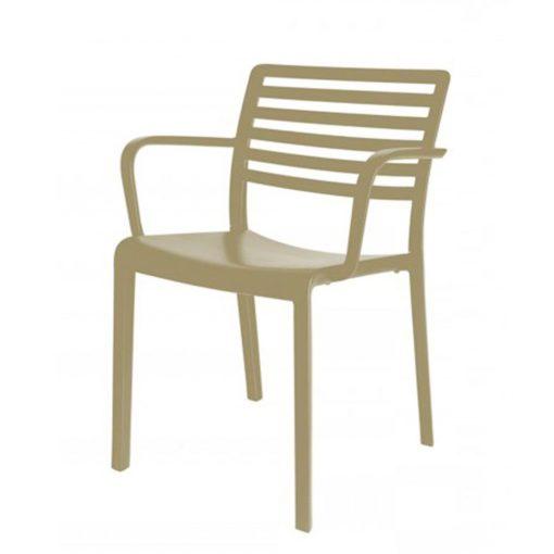 LAMA ARMCHAIR Chaise avec accoudoirs pour usage intérieur ou extérieur, fibre de verre avec polypropylène via une technologie assistée par gaz. Empilable, protection anti-UV.