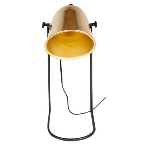 CAIMAN Lampe de table de style vintage, structure en tiges d'acier, finition noir, tulipe en acier, finition laiton.Culot E14. Max 40W.Dimensions: 18x22x41 cm