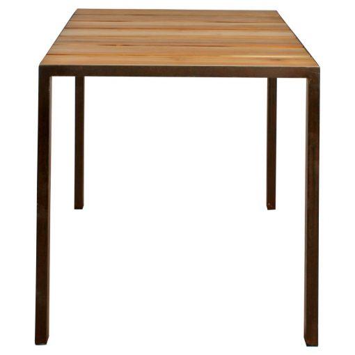 SHINE Table de style industriel avec structure de tubes en fer de 3cm, et plateau en bois de teck. Produit fabriqué par MisterWils, les dimensions et finitions sont personnalisables.