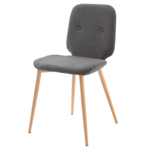 STEM GREY Chaise de style scandinave avec structure métallique, finition imitation bois. Assise en toile. Dimensions: 48x56x84 cm