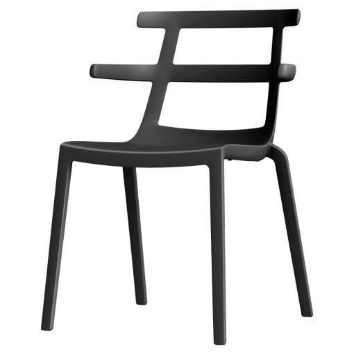 TOLYOK Chaise avec accoudoirs, pour intérieur ou extérieur. Fabriquée en une seule pièce de polypropylène avec fibre de verre via un procédé de moulage assisté par gaz.