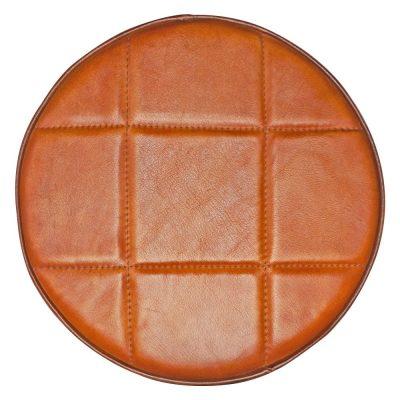 ASSISE CUIR CARRÉS Assise de tabouret en cuir naturel, motifs carrés. Dimensions: Ø30x5 cm